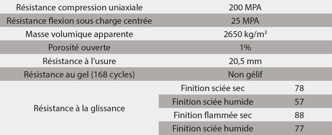 tableau caracteristiques techniques